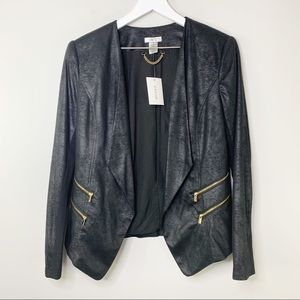 NWT Caché Black Suede Jacket with Shoulder Pads